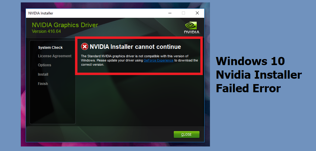 Windows 10 Nvidia Installer Failed Error