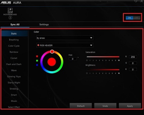 Adjusting RGB Software